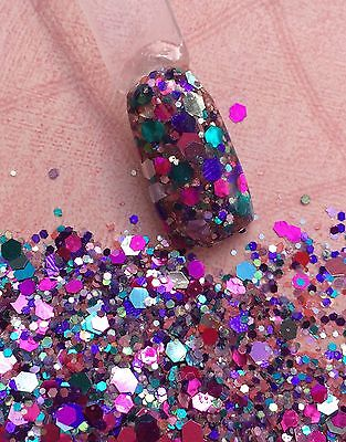 glitter mix acrylic gel nail art           BLISS