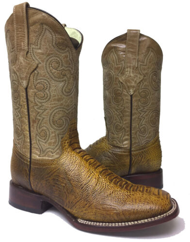New, Mens, Honey, Brown, Ostrich, Print, Leather, Western, Cowboy, Boots, Rodeo, Square
