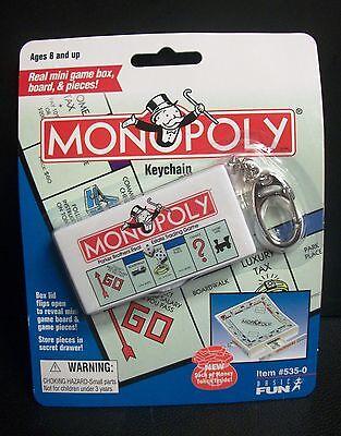 NEW/SEALED MONOPOLY GAME MINI BOARDGAME KEYCHAIN HASBRO