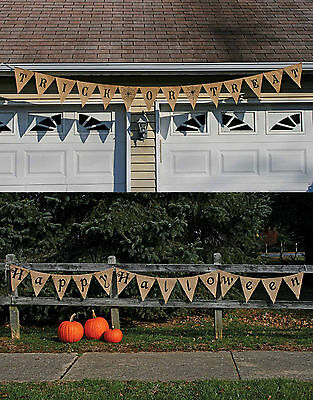 12' Happy Halloween Trick or Treat Burlap Banner Rustic Indoor/Outdoor Decor - Happy Halloween Trick Or Treating