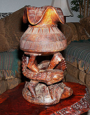 Asian Pacific African? Hand Carved Wood Turtle & Lizard Sculpture Candle Holder?