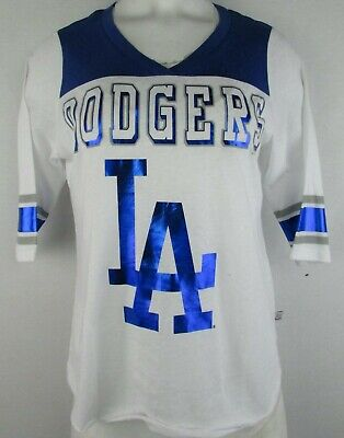 La Dodgers Short Sleeve Shirt - LA Dodgers Women's Touch by Alyssa Milano Short Sleeve Shirt White MLB S, M