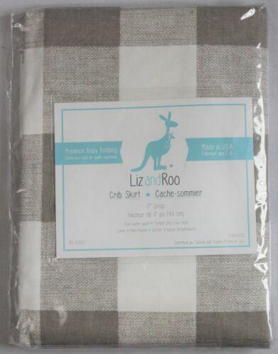 """Liz and Roo Buffalo Check Crib Skirt 17"""" Drop Taupe Standard Crib Size Cribskirt"""