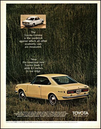 1969 Toyota Corona Toyota Mark II Car grassy field retro photo print ad L45