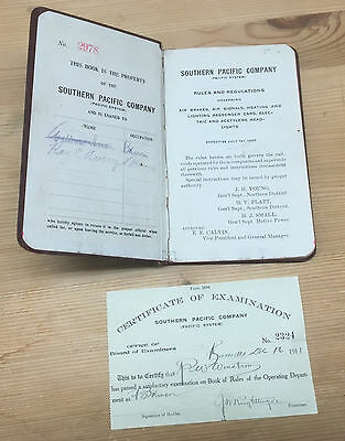 Southern Pacific Company Rules and Regulations 1909 Certificate of Examination