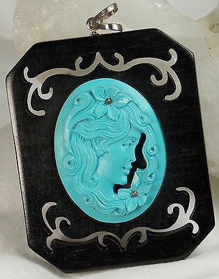 Hsn Italy Cameo 40mm Simulated Turquoise Cutout Ebony Wood Pendant-scognamiglio