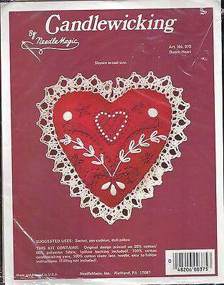 Needle Magic Candlewicking Kit 375 Dutch Heart Red
