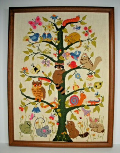 Framed Finished Tree of Life Animals Crewel Embroidery Dimensions 15x20