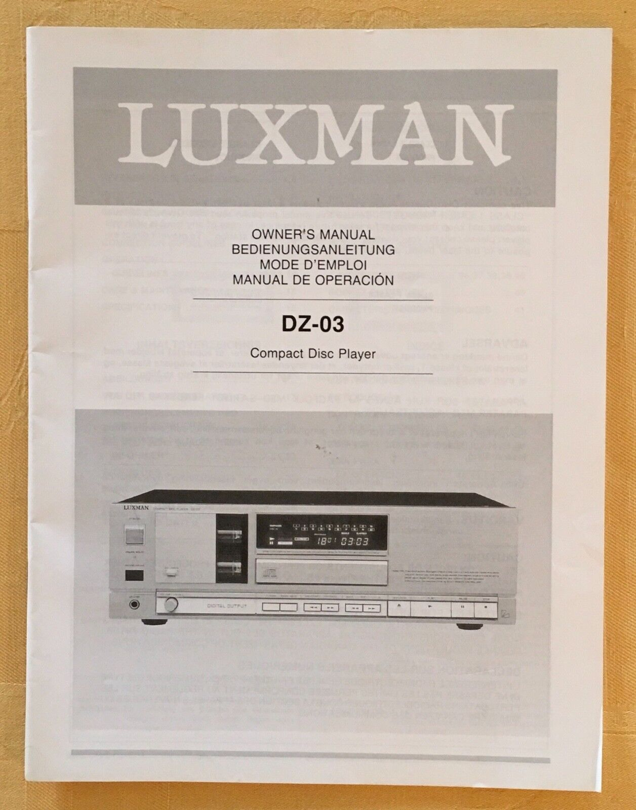 Luxman DZ 03 Röhren CD Player Bedienungsanleitung owner manual BDA Deutsch