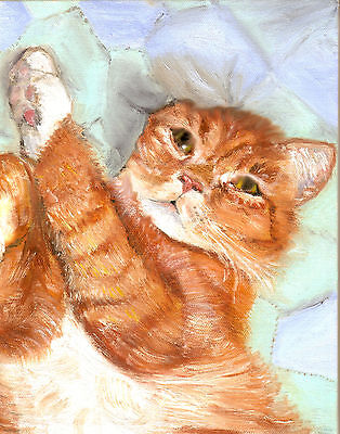 BCB Orange Tabby Cat on a Quilt Print of Painting ACEO