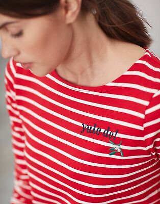 Joules Womens Harbour Embroidered Long Sleeve Jersey Top Shirt - YULE DO STRIPE