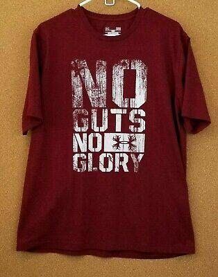 Maroon Loose Fit Shirt (Men's Large Under Armour Loose Fit Tee UA Heatgear No Guts No Glory Maroon Shirt)