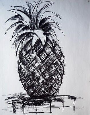 "Vladimir Cora - 28.5"" x 22.5"" Signed Original Charcoal Drawing Still Life"
