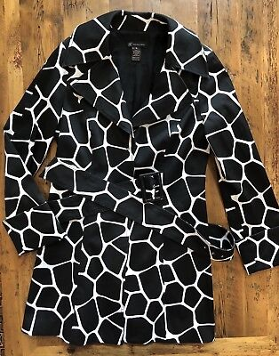 Belted Print Trench Coat (INC International Concepts Belted Trench Coat Medium Black White Giraffe Print)