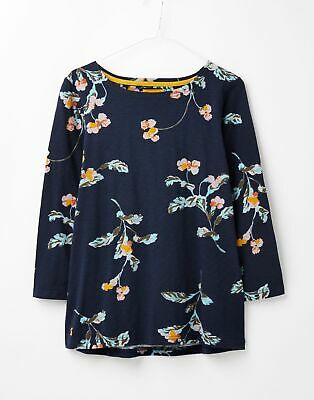 Joules  209073 3/4 Length Sleeve Jersey Striped Top - NAVY SWANTON FLORAL
