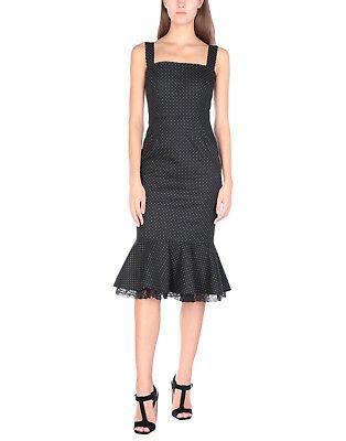 Dolce & Gabbana Micro Polka Dot Flounce-Hem Cocktail Dress Size:46IT/12US