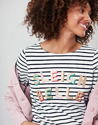 Joules Women-Clothing Harbour Print   Long Sleeve Jersey Top Shirt  -