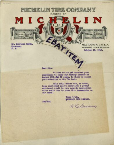 1910 COLOR letterhead MICHELIN TIRE COMPANY Milltown New Jersey A. L. DICKINSON