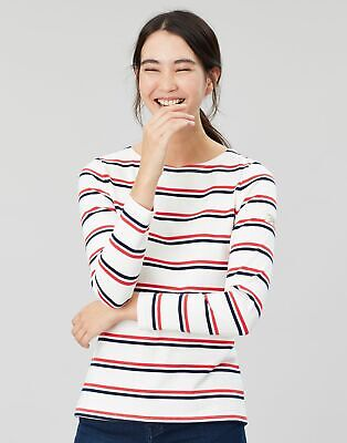 Joules Womens Harbour Long Sleeve Jersey Top Shirt - CREAM RED BLUE STRIPE