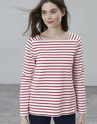 Joules Womens Matilde Square Neck Jersey Top Shirt - CREAM RED STRIPE