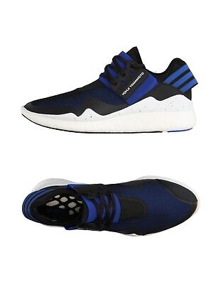 Y-3 Yohji Yamamoto Men's Retro Boost Sneakers Black Blue Leather Textile Sz 12.5