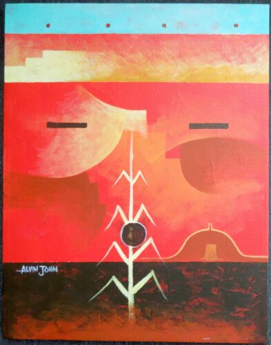 "ORIGINAL Navajo Painting ALVIN JOHN ""Corn Blessing"" 2004* 14x11 * Free Shipping*"