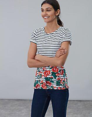 Joules Womens Nessa Print Lightweight Jersey T Shirt - CREAM ROSE BORDER Size 10