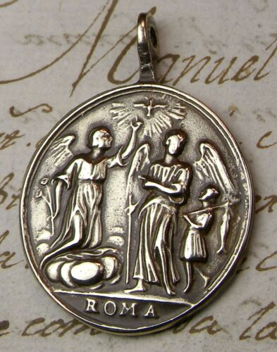 SPANISH COLONIAL OLD TESTAMENT TOBIT & ARCHANGEL RAPHAEL & MICHAEL ROSARY MEDAL