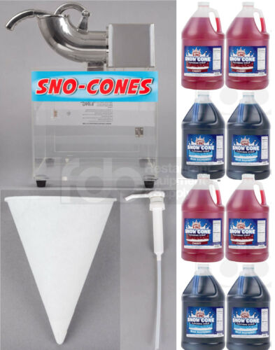 8 GALLON SYRUP, 5000 PAPER CONE, PUMPS, COMMERCIAL SNOW CONE MACHINE KIT