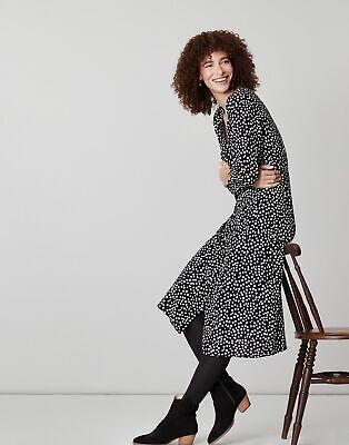 Joules Womens-Clothing Genevieve V Neck Button Through Dress - BLACKSPOT