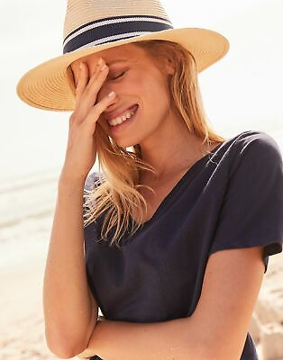Joules Womens Celina Drapey V Neck Top - FRENCH NAVY