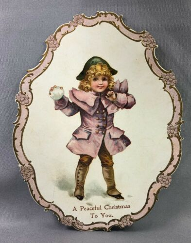 c 1900 Peaceful CHRISTMAS Victorian Child ANTIQUE Die Cut Card SNOWBALL