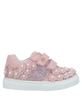 Miss Blumarine Girl Leather Pink Sneakers with Swarovski and Pearls Size 23 US 7