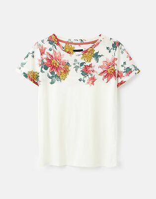 Joules 211411 Lightweight Jersey T Shirt - CREAM CLEMATIS BORDER