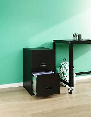 Filing Cabinet 2-drawer Steel File Cabinet With Lock Black