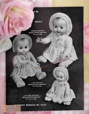Vintage 50s Dolls Clothes Knitting Pattern  For Baby Doll 10-21in. In Size