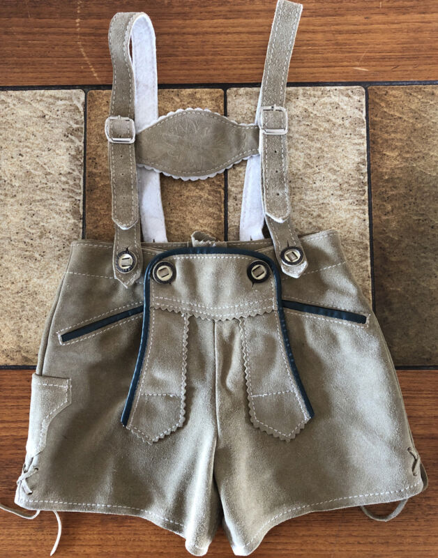 Authentic Vintage Lederhosen Child Leather Shorts Toddler, Adjustable, Sz 80 EUC