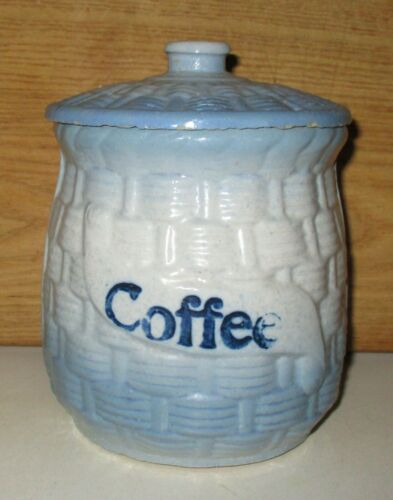 ANTIQUE MCCOY BLUE WHITE BASKET WEAVE MORNING GLORY COFFEE CANISTER & LID