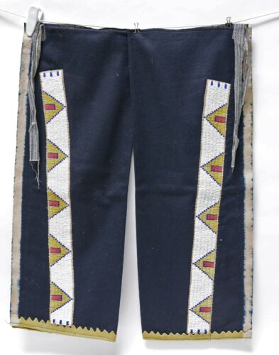 Antique Cheyenne Leggins Beaded Hide strips on Blue Stroud Trade cloth  c. 1900