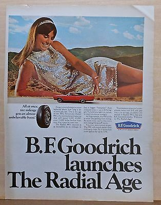 1967 magazine ad for B.F. Goodrich Tires - Giant girl & tiny car, The Radial Age
