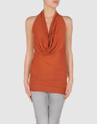 Jucca Rust Coloured Draped Detail Front Ginger Top - Large