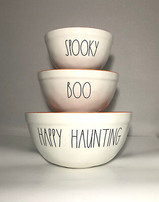 Rae Dunn 2018 Halloween Set of 3 HAPPY HAUNTING BOO SPOOKY Melamine Mixing Bowls](Halloween Boo Mix)