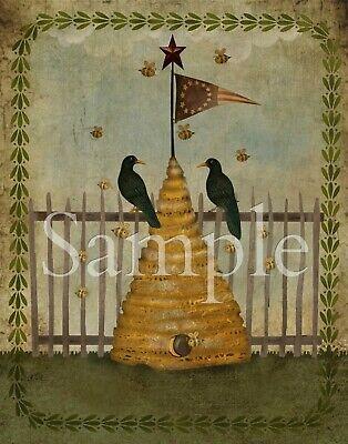 "Primitive Fall Folk Art Girl w// Crows and Corn Print Canvas Board 8x10"""
