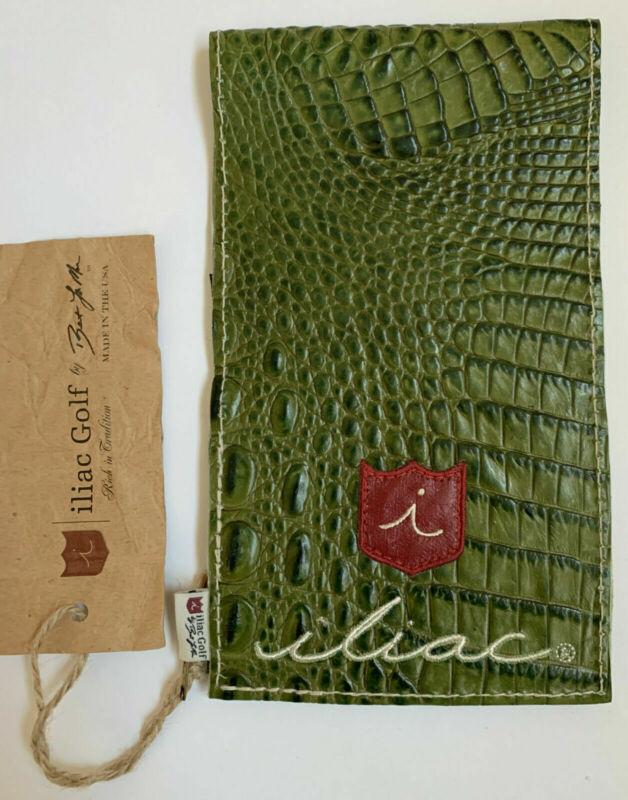 Iliac Golf Yardage Book Scorecard Cover Green Leather Italian Croc USA Made