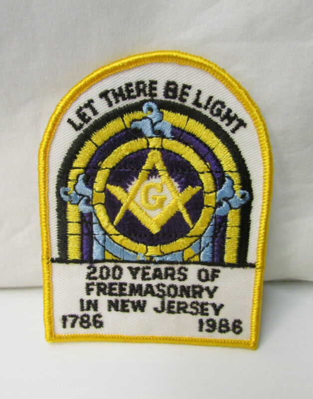 200 Years of Freemasonry in New Jersey ~ 1786-1986  ~ Embroidery Patch
