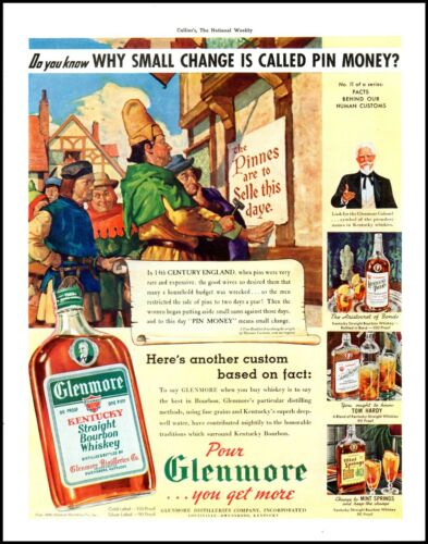 1939 Glenmore Kentucky Bourbon 14th century England vintage art Print Ad  ADL18