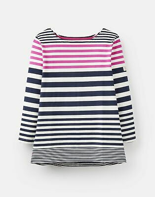 Joules Womens 208566 3/4 Length Sleeve Jersey Striped Top - NAVY AND PINK STRIPE
