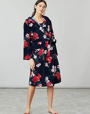 Joules Womens Rita Fluffy Dressing Gown - NAVY FLORAL