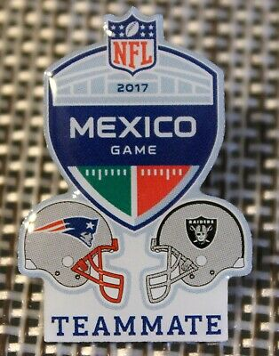 Official 2017 NFL Mexico Game NEW ENGLAND PATRIOTS vs. OAKLAND RAIDERS Lapel Pin