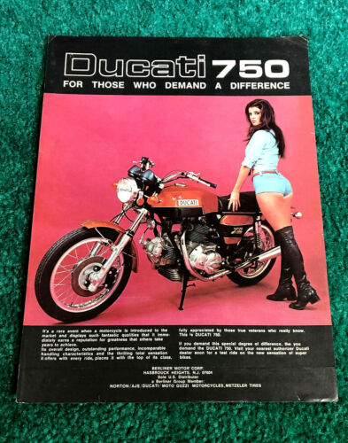 ORIGINAL 1974 DUCATI MOTORCYCLE MAGAZINE PIN-UP AD GT750 GT-750 POSTER?